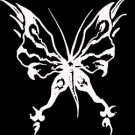 "(BTR 7) 6"" white vinyl Butterfly die cut window laptop decal sticker."