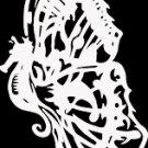 """(BTR 8) 6"""" white vinyl Butterfly seahorse die cut window laptop decal sticker."""