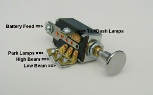 Headlight Dimmer Switch 4 pos hot rod rat 32 34 29 Ford