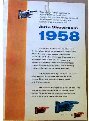 AUTO SHOWROOM 1958 14 MODELS COLOR PHOTOS