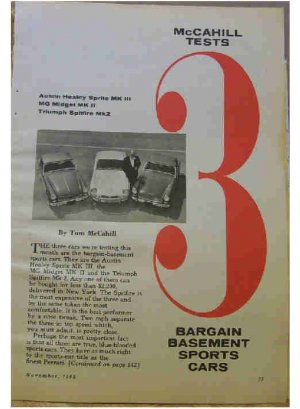 McCAHILL TESTS 3 BARGAIN BASEMENT 66 SPORTS CARS