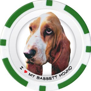 BASSET HOUND DOG BREED Poker Chips (11.5g) Sold in Packs of 10