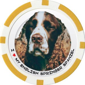 ENGLISH SPRINGER SPANIEL DOG BREED Poker Chips (11.5g) Sold in Packs of 10