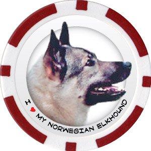 NORWEGIAN ELKHOUND DOG BREED Poker Chips (11.5g) Sold in Packs of 10