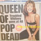 WHITNEY HOUSTON QUEEN of POP DEAD at 48 NEW YORK POST DEATH NEWSPAPER
