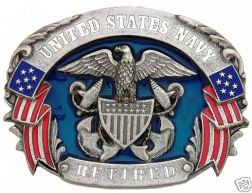 UNITED STATES NAVY RETIRED PEWTER MILITARY BELT BUCKLE