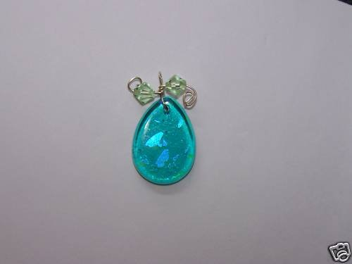 Ladies Pendant Blue Glass Sterling Silver & Crystals