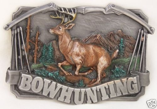 BOW HUNTING BUCKLE BY SISKIYOU... PEWTER..MADE IN USA