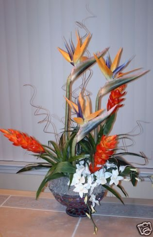 Stunning Birds of Paradise and Ginger in Mosaic bowl