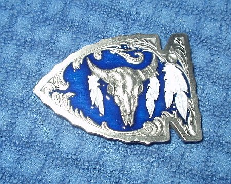 SISKIYOU WESTERN STEER SKULL INDIAN ARROWHEAD BUCKLE...