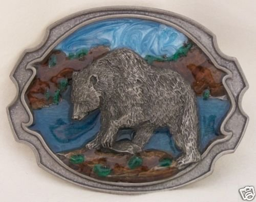 GRIZZLY BEAR HUNTING BELT BUCKLE BY SISKIYOU..PEWTER...