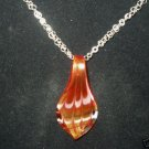 """FIRE AND ICE"" WOW! GLASS PENDANT STERLING SILVER CHAIN"