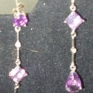 GENUINE DIAMOND AND AMETHYST DANGLE EARRINGS...ELEGANT!