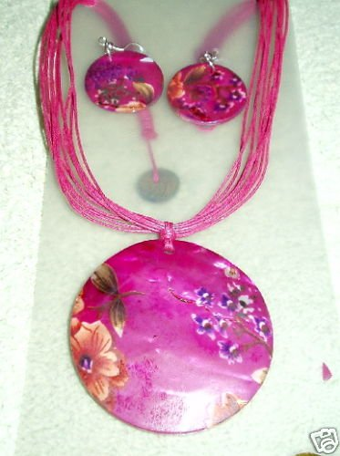 GORGEOUS PINK! PINK! PINK! PENDANT NECKLACE& EARRINGS