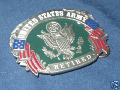 U.S. ARMY RETIRED SISKYOU PEWTER MILITARY BELT BUCKLE