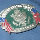 U.S. ARMY RETIRED SISKYOU PEWTER MILITARY BELT BUCKLE