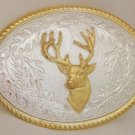 STERLING SILVER AND 14 KARAT GOLD PLATE DEER BUCKLE