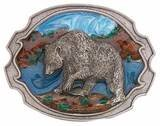 GRIZZLY BEAR BELT BUCKLE BY SISKIYOU...FINE PEWTER...