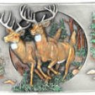 BUCK DEER SISKIYOU PEWTER MEN'S BELT BUCKLE