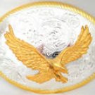 STERLING SILVER AND GOLD PLATED AM. EAGLE BELT BUCKLE