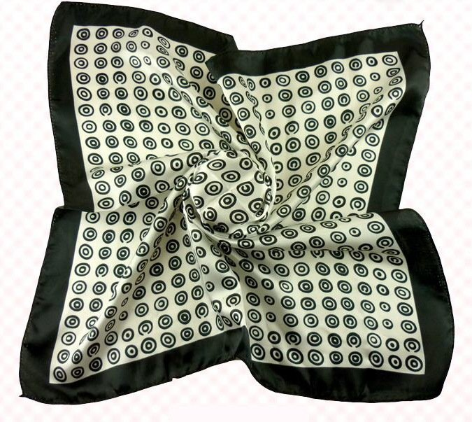 (2S11-SS001 - BLK&BLK) Scarf/ Small scarf/ Small Square Scarf/ Lady small scarf - Black & Black Dots