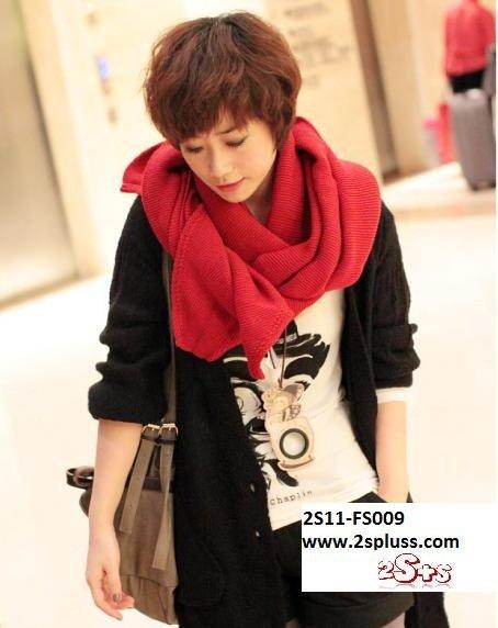 (2S11-FS009-BRED) Unisex Super Long fashion scarf 200cm*60cm in Bright Red colour