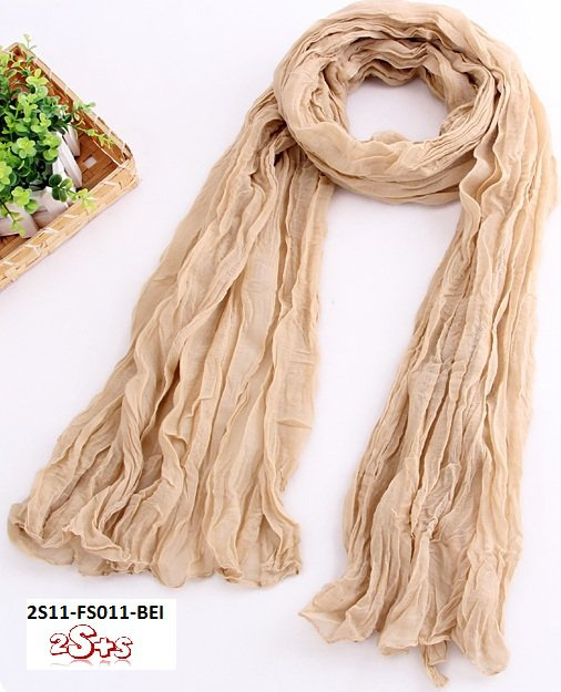 (2S11-FS011-BEI) Lady Long scarf 190cm*110cm in Beige colour