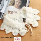 (2S13-FF004-WHT) Lady Faux-Fur collar with beads, fashion scarf in White color
