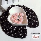 (2S13-FF008-BLK) Lady Fashion Collar with imitation pearls and sparkling beads in Black color