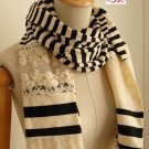 (2S13-FS013-BLK) Lady Fashion scarf with lace and Black Strips Color