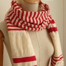 (2S13-FS013-RED) Lady Fashion scarf with lace and Red strip Color