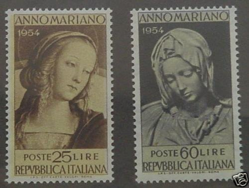 ITALY 1954 Michellangelo´s Madonna set of 2 MNH S00268