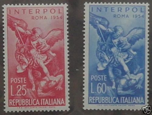ITALY ITALIA 1954 INTERPOL St Michael set of 2 U S00267