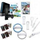 "Nintendo Wii Black ""Fun Bundle""- 17 Games, Boxing Gloves, Wheels, and More"