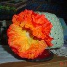 Sea Green with Orange Poppy