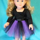 Glittery Purple and Black Tutu for 18-inch Dolls | Halloween Costume | Doll Clothes