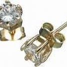 18K Gold Plated Solid Sterling Silver Stud 5mm CZ Earrings