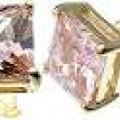 18K Gold Plated Solid Sterling Silver Princess 2 ct Pink CZ Earrings