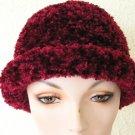 maroon crocheted hat