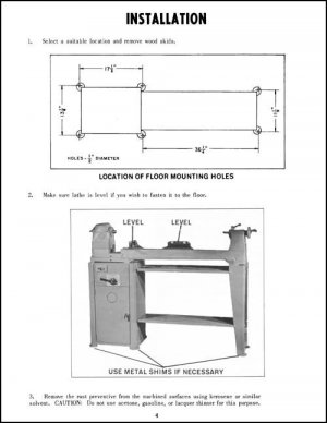 Delta Rockwell 12 Inch Wood Lathe Ops & Parts Manuals