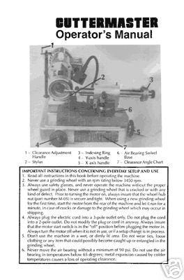Cuttermaster Tool Grinder Operators Manual