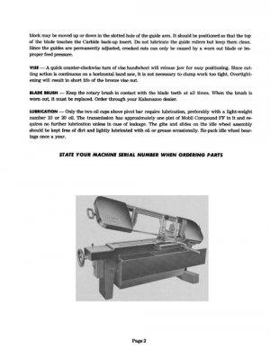 Kalamazoo Service & Parts Model 8A Bandsaw Manual