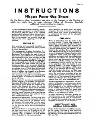 Niagara Power Gap Shears Instruction Manual