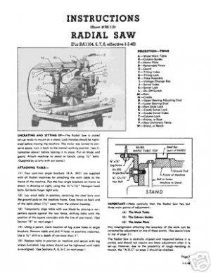 Walker-Turner RA1104-6-7-8 Radial Arm Saw Manual