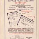 Warner & Swasey Number 4 Turret Lathe Parts Manual