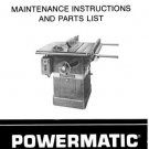 Powermatic Model 66 10 Inch Table Saw Manual