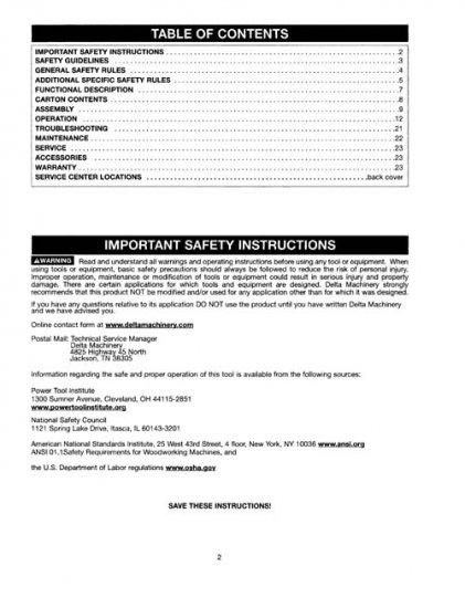 Delta DC-380 15 Inch Planer Manual Instructions & Parts