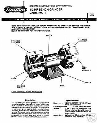 dayton 2lkr9 parts diagram dayton bench grinder parts and operating manual dayton grinder parts diagram