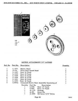 Sheldon 10 Inch L Series Lathe Parts Manual
