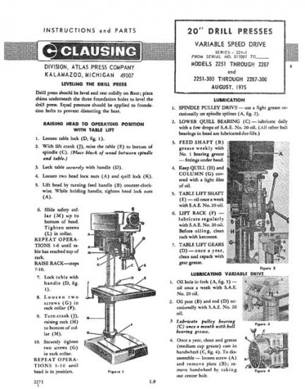 clausing 20 inch drill press operating parts manual. Black Bedroom Furniture Sets. Home Design Ideas